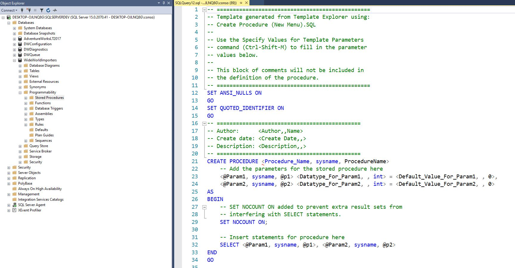 Creating stored procedure in ssms Step 2